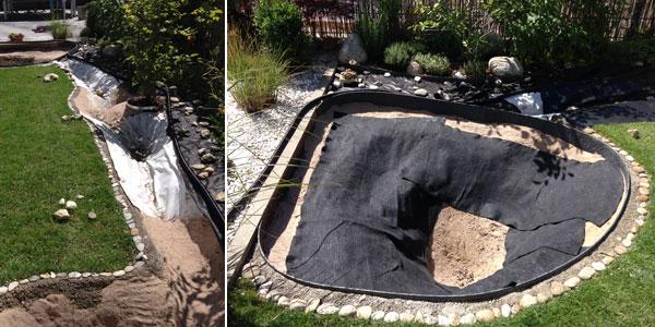 Teich ausgekleidet mit Sand und Vlies